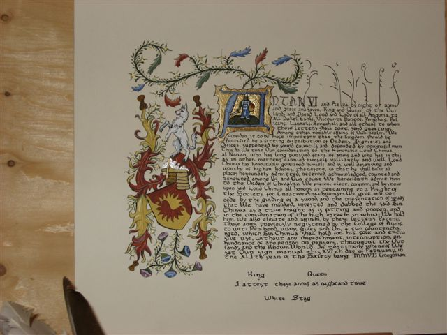 Llywus ap Alan- Award scroll