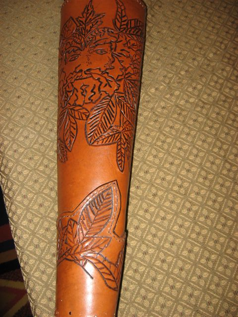 Fine inghen Chinaeda- Leather quiver with Green Man tooling