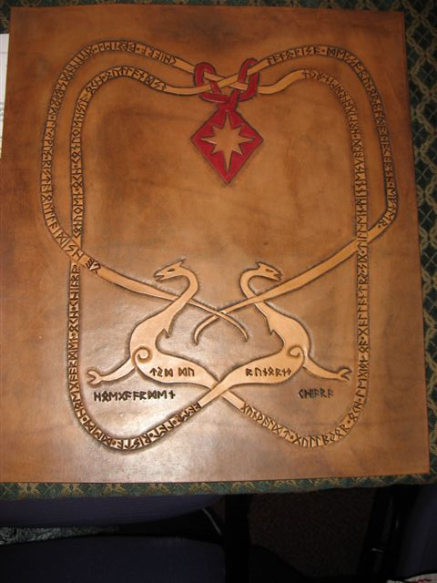 Llywus ap Alan- Leather runestone award scroll