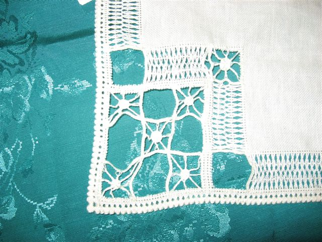 Bronwen of Hindscroft- Pulled cut thread embroidery napkin